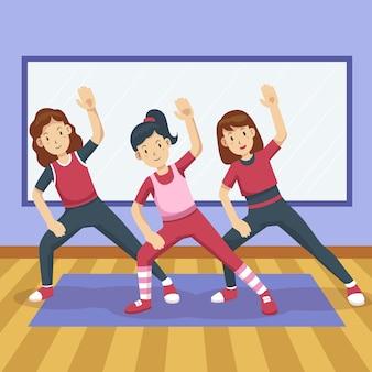Zilustrowane zajęcia fitness z organicznego tańca płaskiego