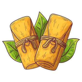 Zilustrowano ekologiczne płaskie tamales
