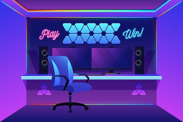Zilustrowano ekologiczny, płaski pokój dla graczy