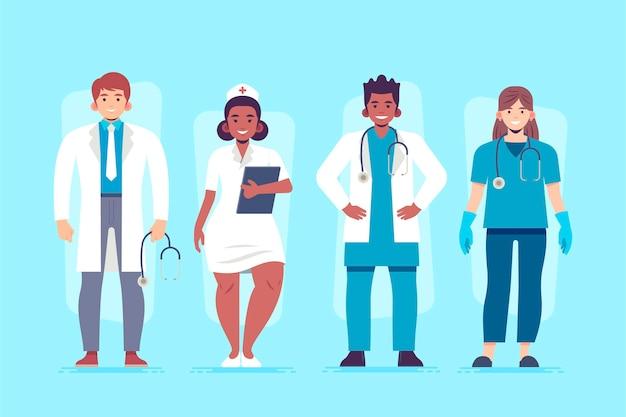 Zilustrowano ekologicznych lekarzy i pielęgniarki