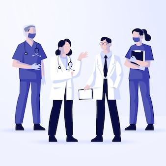 Zilustrowano grupę różnych lekarzy