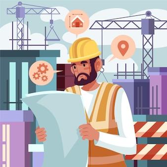 Zilustrowano inżynierów pracujących na budowie