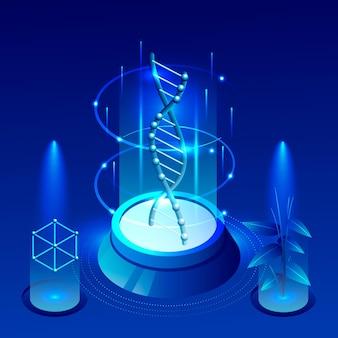 Zilustrowano izometryczną koncepcję biotechnologii