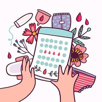 Zilustrowano koncepcję kreatywnego kalendarza menstruacyjnego