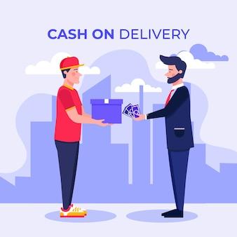 Zilustrowano koncepcję płatności za pobraniem