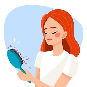 Zilustrowano koncepcję utraty włosów wyciągnąć rękę