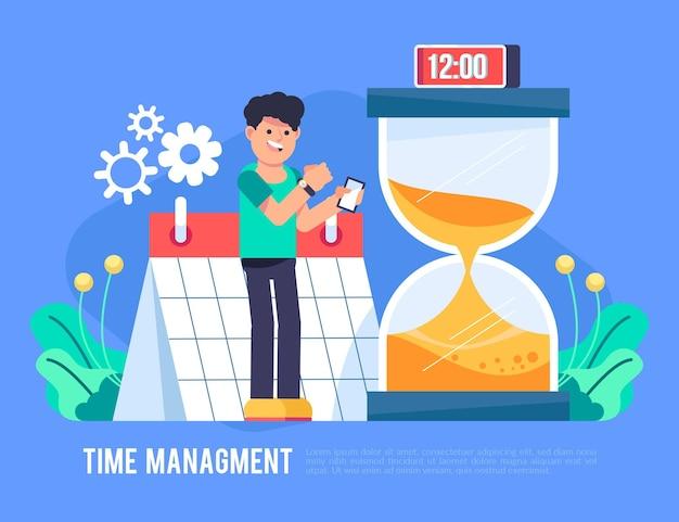 Zilustrowano koncepcję zarządzania czasem płaskim