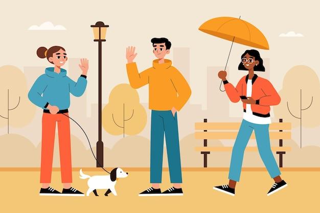 Zilustrowano ludzi spacerujących po parku jesienią