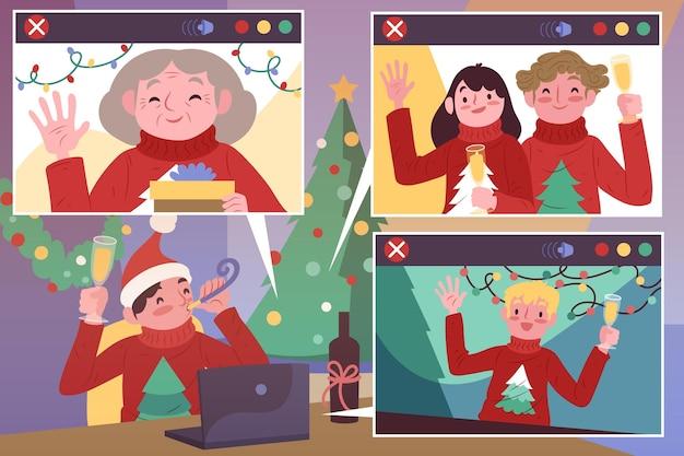 Zilustrowano ludzi świętujących boże narodzenie na rozmowie wideo