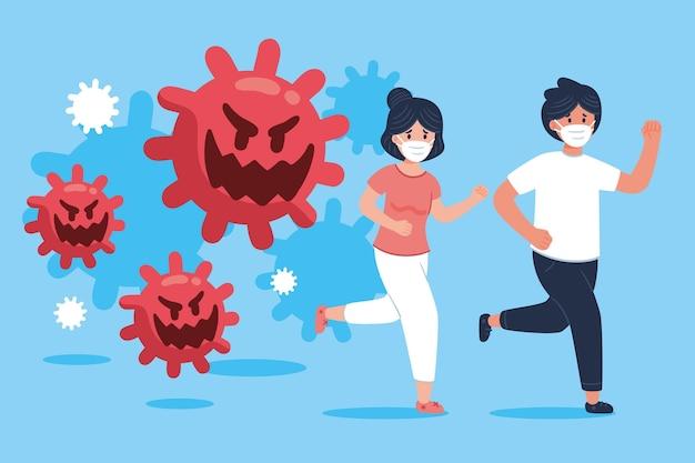 Zilustrowano ludzi uciekających przed cząstkami koronawirusa