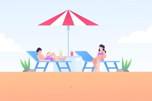 Zilustrowano ludzi wykonujących letnie zajęcia na świeżym powietrzu