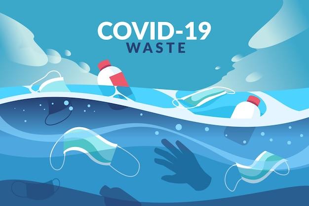 Zilustrowano odpady koronawirusa na tle oceanu