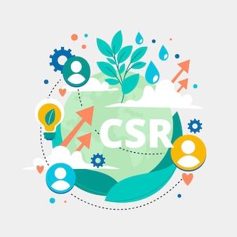 Zilustrowano organiczną płaską abstrakcyjną koncepcję csr