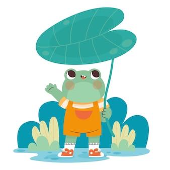 Zilustrowano organiczną płaską żabę