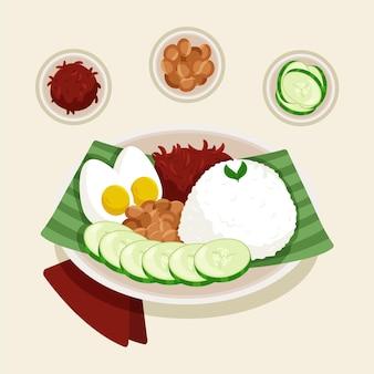 Zilustrowano organiczne płaskie nasi lemak