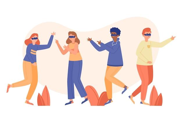 Zilustrowano osoby używające okularów wirtualnej rzeczywistości