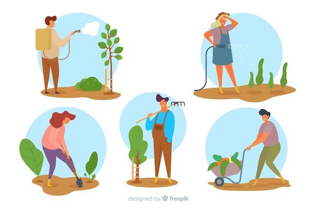 Zilustrowano paczkę robotników rolnych