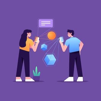 Zilustrowano parę korzystającą z rozszerzonej rzeczywistości na smartfonach