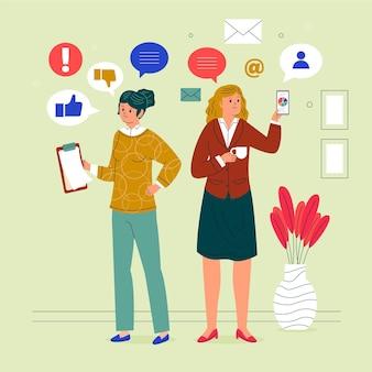 Zilustrowano pewne siebie przedsiębiorcze kobiety