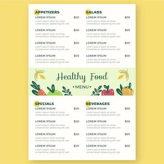 Zilustrowano pionowy szablon menu cyfrowej restauracji