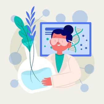 Zilustrowano płaską koncepcję biotechnologii