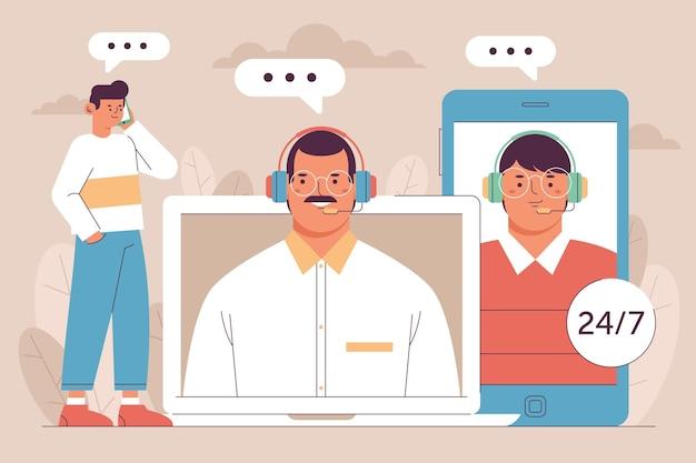 Zilustrowano płaską koncepcję obsługi klienta