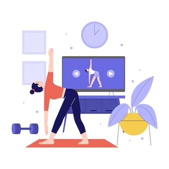 Zilustrowano płaską koncepcję zajęć sportowych online