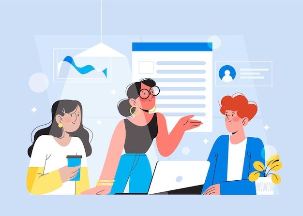 Zilustrowano płaską konstrukcję osób na szkoleniach biznesowych