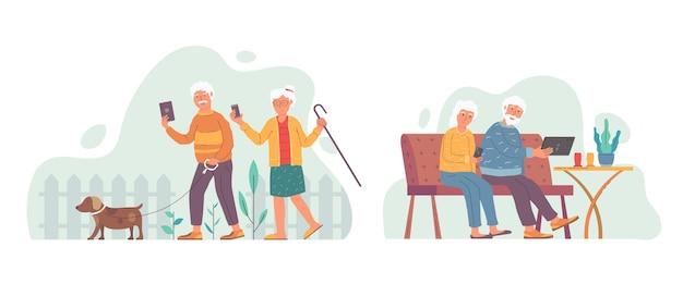 Zilustrowano płaską konstrukcję seniorów wykorzystującą technologię