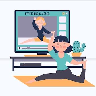 Zilustrowano płaską, ręcznie rysowane koncepcję zajęć sportowych online