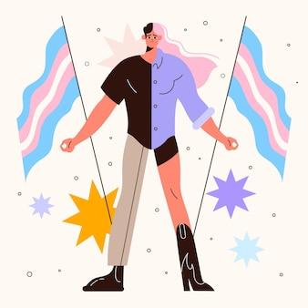 Zilustrowano płaską reprezentację transpłciowej