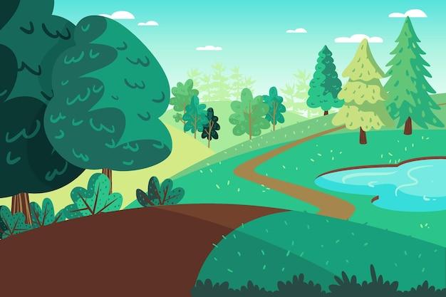 Zilustrowano płaski kształt wiosny krajobraz