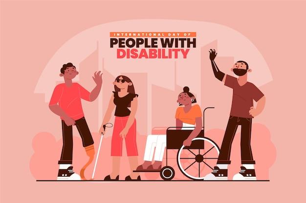 Zilustrowano płaski projekt międzynarodowego dnia osób niepełnosprawnych
