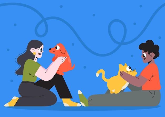 Zilustrowano płaskich ludzi ze zwierzętami