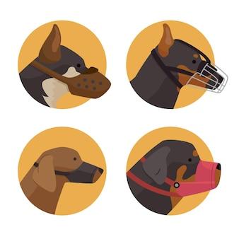 Zilustrowano płaskie psy w kagańcu