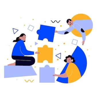 Zilustrowano pracę zespołową ludzi w projekcie