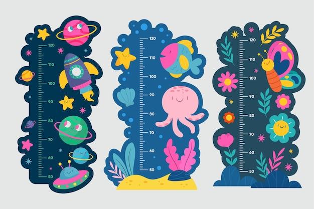 Zilustrowano ręcznie rysowane kolekcję wysokościomierzy