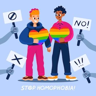 Zilustrowano ręcznie rysowane komunikat o zatrzymaniu homofobii