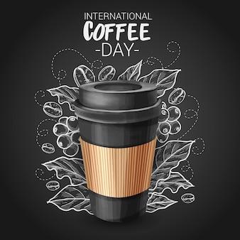 Zilustrowano ręcznie rysowane międzynarodowy dzień kawy z filiżanką