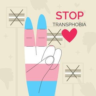 Zilustrowano ręcznie rysowane zatrzymanie transfobii