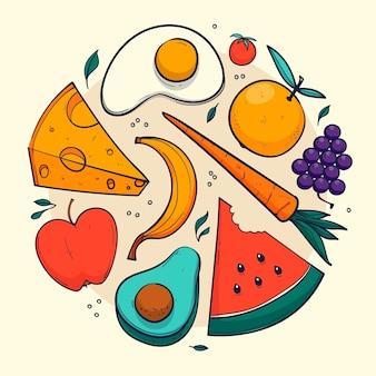Zilustrowano różne zdrowe potrawy