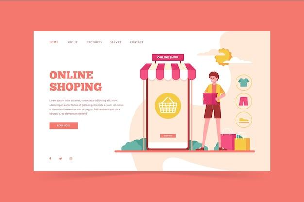 Zilustrowano stronę docelową zakupy online w sklepie płaskim