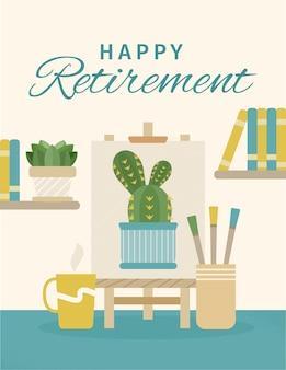 Zilustrowano szablon ekologicznej karty z pozdrowieniami płaskiej emerytury