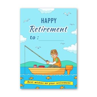 Zilustrowano szablon karty z pozdrowieniami wyciągnąć rękę emerytury
