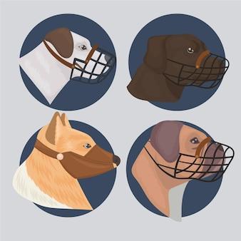 Zilustrowano szczegółowe psy w kagańcach