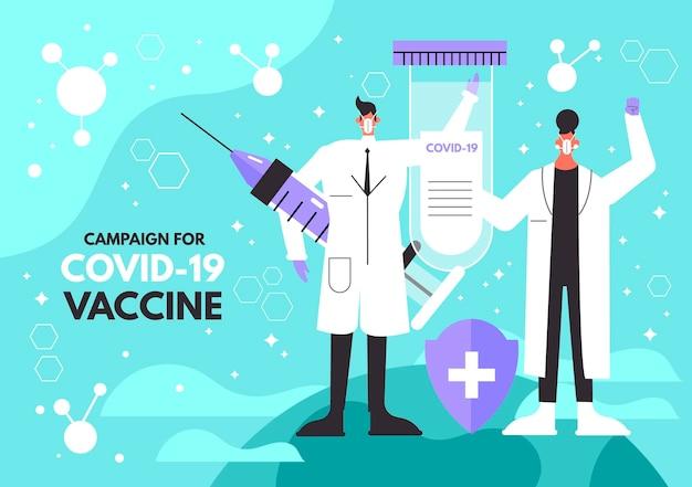 Zilustrowano tło szczepionki koronawirusowej z lekarzem
