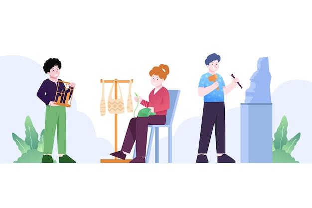 Zilustrowano współczesnych ludzi prowadzących działalność kulturalną