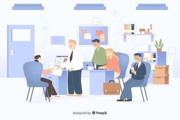 Zilustrowano współpracujących ze sobą kolegów