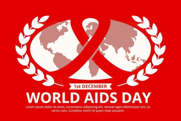Zilustrowano wydarzenie dnia aids w płaskiej konstrukcji