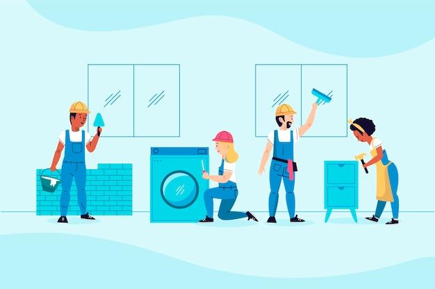 Zilustrowano zawody związane z gospodarstwem domowym i renowacją